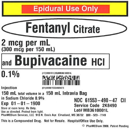 """2 mcg/mL Fentanyl Citrate and 0.1% Bupivacaine HCl (Preservative Free) in 0.9% Sodium"""