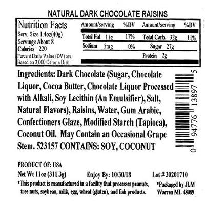 Nutrition Facts Panel – ALL NATURAL DARK CHOCOLATE RAISINS 11 oz. February 2017 – October 2018 UPC 94776138975