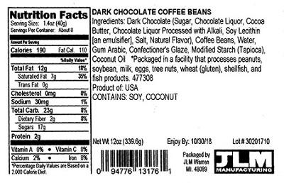 Nutrition Facts Panel – GENERIC DARK CHOCOLATE COFFEE BEANS 12 oz. February 2017 – October UPC 2018 94776131761