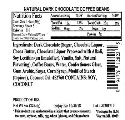 Nutrition Facts Panel – ALL NATURAL DARK CHOCOLATE COFFEE BEANS 8 oz. February 2017 – October, UPC 2018 94776128235