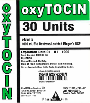 """Oxytocin 30 Units added to 1000 mL 5% Dextrose/Lactated Ringer's USP, NDC 71019-242-01"""