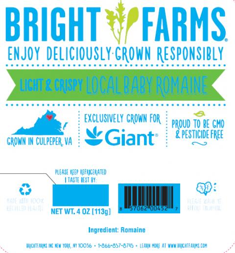 """Label, BrightFarms Romaine for Giant"""