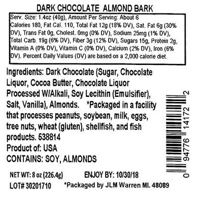 Nutrition Facts Panel – GENERIC DARK CHOCOLATE ALMOND BARK 8 oz. February 2017 – October 2018 UPC 94776141722