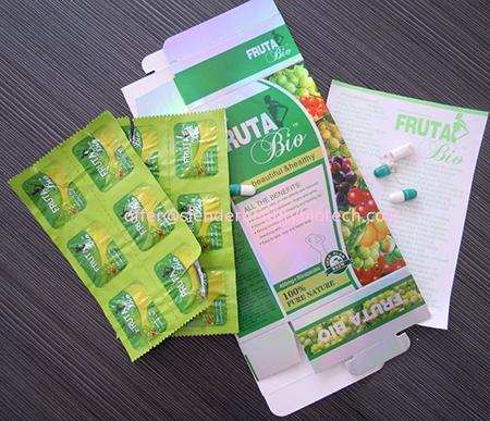 FRUTA Bio blister packs, packaged in a yellow/green box with green labeling.