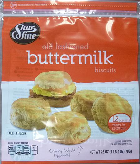 SHUR FINE OLD FASIONED BUTTERMILK BISCUITS, 12 ct UPC 1116103755