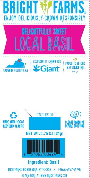 """Label, BrightFarms Sweet Local Basil for Giant"""