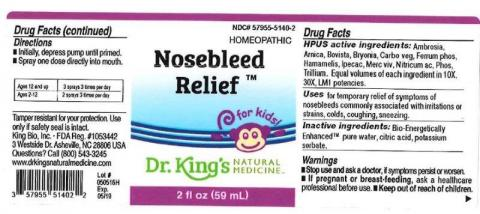"""Product label, Dr. Kings Nosebleed Relief, 2 fl oz"""