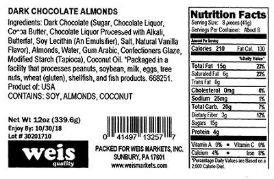 Nutrition Facts Panel - WEIS DARK CHOCOLATE ALMONDS 12 oz. February 2017 – October 2018 UPC 41497132577