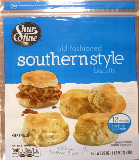 SHUR FINE OLD FASIONED SOUTHERN STYLE BISCUITS, 12 ct UPC 1116103754