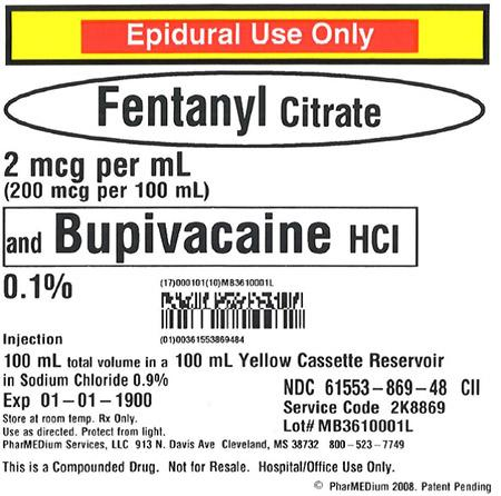 """2 mcg/mL Fentanyl Citrate and 0.1% Bupivacaine HCl (Preservative Free) in 0.9% Sodium Chloride"""