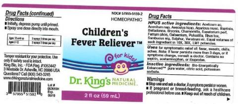 """Product label, Dr. Kings Childrens Fever Reliever, 2 fl oz"""