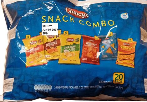 """Clancy's Snack Combo, 20 bags, Sell by JUN 07 2017"""