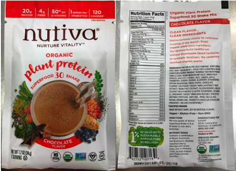"""Packet images, front panel and back panel, Nuvita Organic plant protein super food 30 shake Chocolate Flavor, 1.2 oz (34g) Packets"""