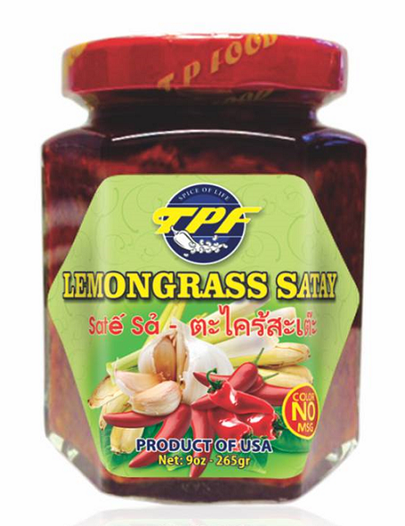 """TPF Lemongrass Satay, 9 oz. Jar, Front Label"""