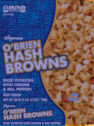 """Wegmans O'Brien Hash Browns, frozen, Net Wt. 28 oz."""