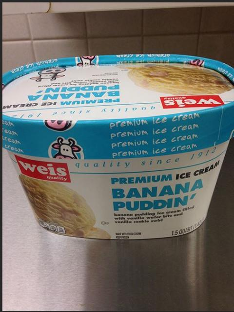 Weis Quality, Premium Ice Cream, Banana Puddin', 1.5 Quart