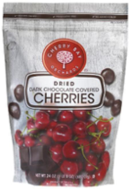 """Package Front, CHERRY BAY ORCHARDS DRIED DARK CHOCOLATE COVERED CHERRIES 24 OZ."""