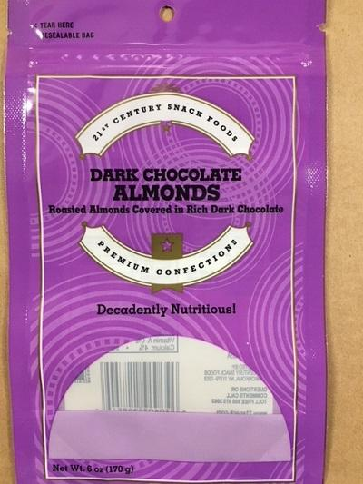 """Package Front, 21st Century Snack Foods DARK CHOCOLATE ALMONDS"""