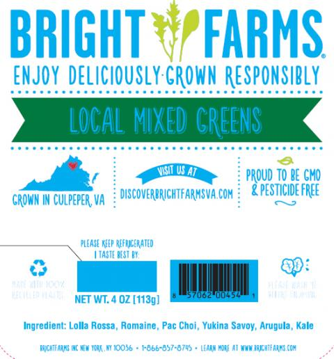 """Label, Bright Farms Local Mixed Greens"""