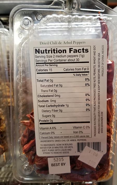 """Dried Chili De Arbol Peppers, back label"""