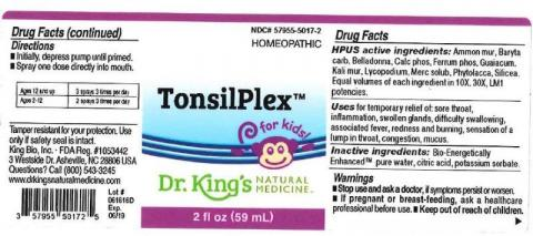"""Product label, Dr. Kings TonsilPlex, 2 fl oz"""