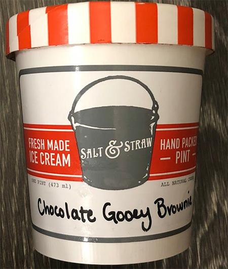 Front Label, Salt & Straw Gooey Brownie Ice Cream
