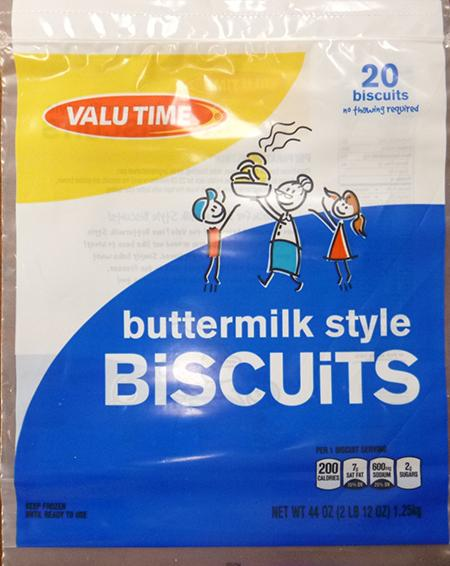 VALU TIME BUTTERMILK STYLE BISCUITS, 20 ct UPC 1122508421