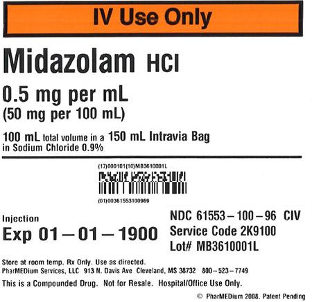 """0.5 mg/mL Midazolam HCl in 0.9% Sodium Chloride"""