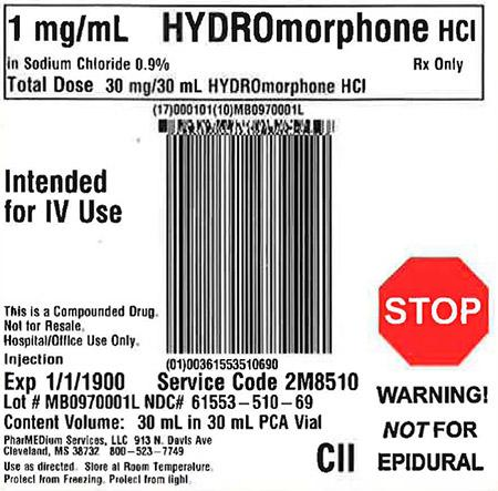 """1 mg/mL HYDROmorphone HCl in 0.9% Sodium Chloride"""