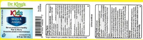 """Product label, Dr. Kings Kids Stress & Anxiety, 2 fl oz"""