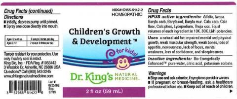 """Product label, Dr. Kings Childrens Growth & Development, 2 fl oz"""