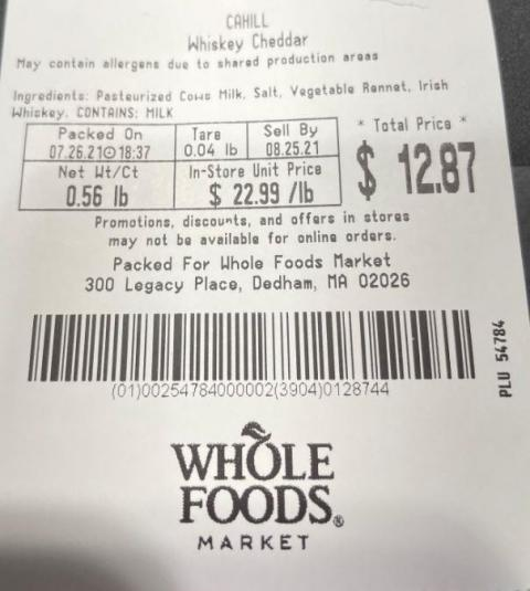 WFM Scale Label – CAHILL Whiskey Cheddar, Net Wt/Ct, 0.56 lbs., WHOLE FOODS MARKET