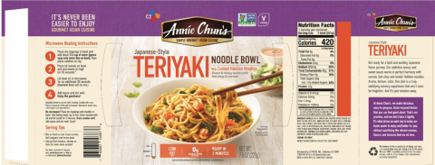 Package labeling, Annie Chun's Japanese-Style Teriyaki Noodle Bowls