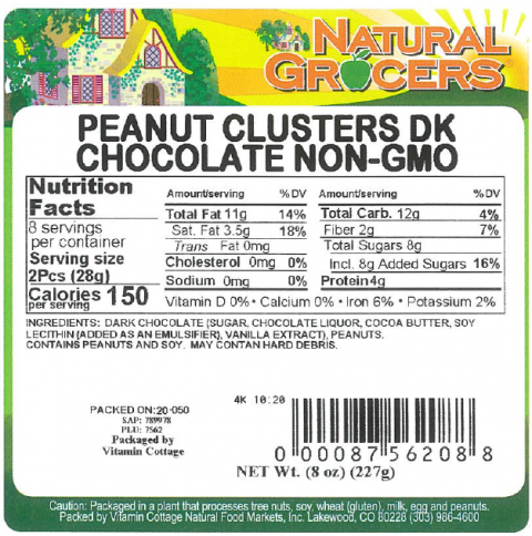 Product label Natural Grocers Peanut Clusters DK Chocolate Non-GMO 8 oz
