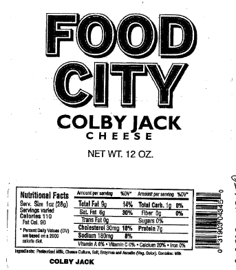 """Food City Colby Jack Cheese, 12 oz"""