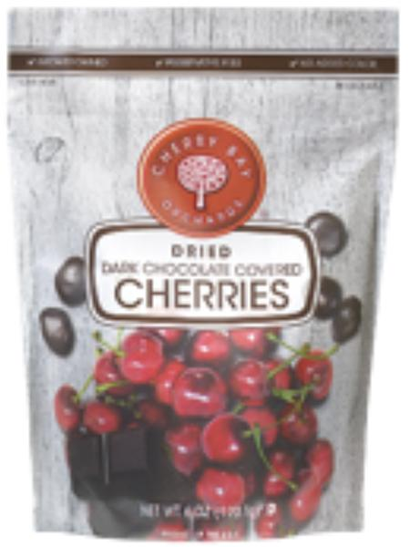 """Package Front, CHERRY BAY ORCHARDS DRIED DARK CHOCOLATE COVERED CHERRIES 6 OZ."""