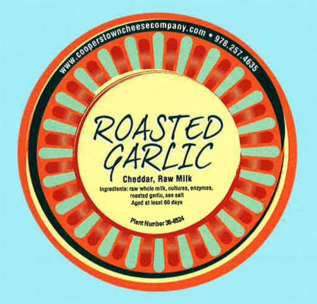 """Label, Roasted Garlic cheese"""
