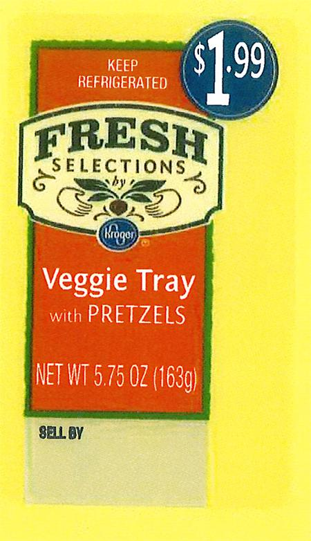"""Front and back labels: Fresh Selections by Kroger Veggie Tray with Pretzels"""