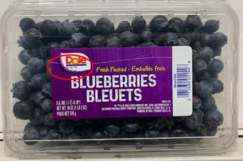 Label, Dole Fresh Blueberries example of lot code