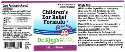 """Product label, Dr. Kings Childrens Ear Relief Formula, 2 fl oz"""
