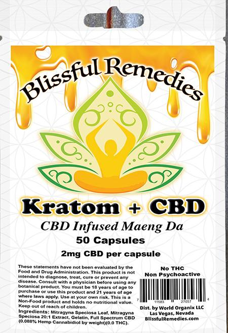 """Blissful Remedies, Kratom + CBD, CBD Infused Maeng DA, 50 Capsules, 2 mg CBD per capsule"""