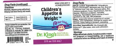 """Product label, Dr. Kings Childrens Appetite & Weight, 2 fl oz"""