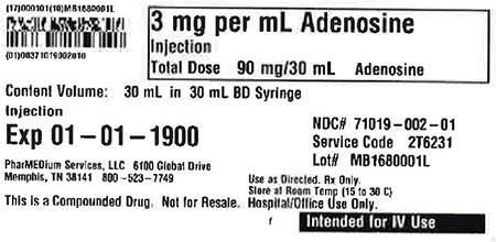 """3 mg/mL Adenosine Injection 30 mL in 30 mL BD Syringe"""