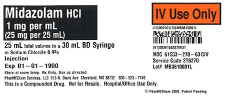 """1 mg/mL Midazolam HCl in 0.9% Sodium Chloride"""