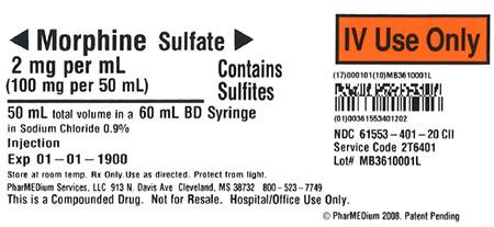 """2 mg/mL Morphine Sulfate (Preservative Free) (Contains Sulfites) in 0.9% Sodium Chloride"""