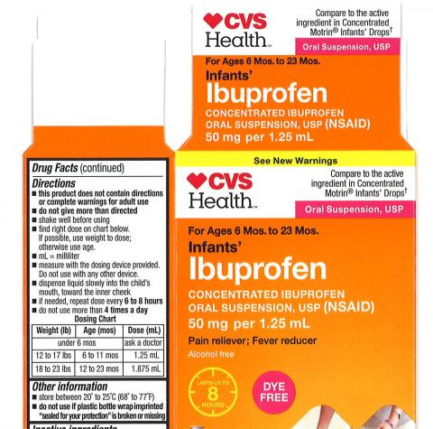 Carton Label CVS Health: Infants' Ibuprofen Concentrated Oral Suspension, USP, 50 mg per 1.25 mL, in 0.5 oz. bottle