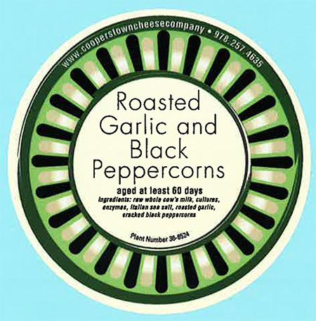 """Label, Roasted Garlic and Black Peppercorns cheese"""