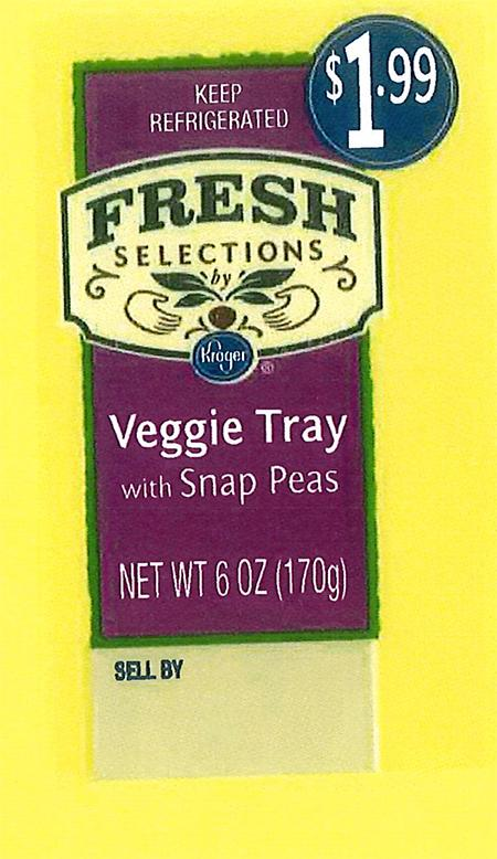 """Front and back labels: Fresh Selections by Kroger Veggie Tray with Snap Peas"""