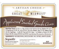 """Great Midwest Applewood Smoked Gouda Cheese, Nutrition Facts Panel"""