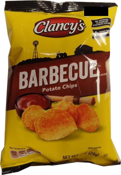 """Clancy's Barbecue Potato Chips, snack bag"""